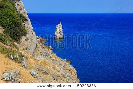 view of the rocky coast and the sea