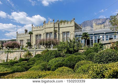 old beautiful castle in the mountains