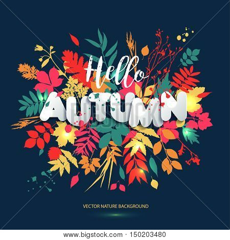 Text Hello Autumn In Paper Style On Multicolor Background With Autumn Leaves.