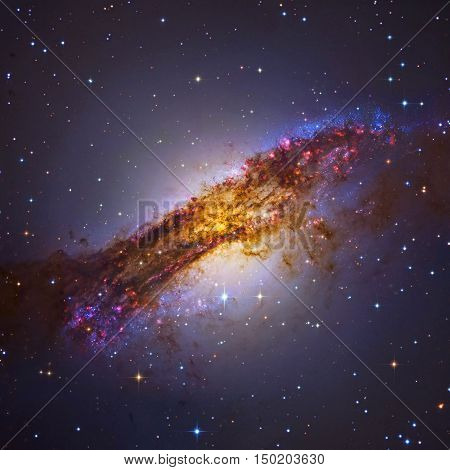 Centaurus A or NGC 5128 is a prominent galaxy in the constellation of Centaurus. The center of the galaxy contains a supermassive black hole. Elements of this image furnished by NASA.