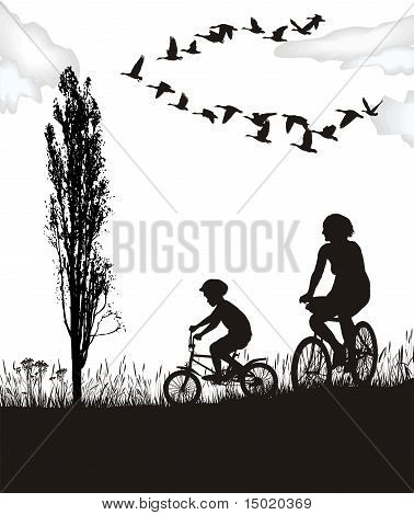 Son And Mother On Bikes.