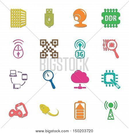 computer, technology 16 icons universal set for web and mobile flat
