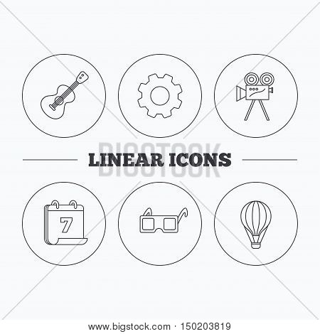 Guitar music, 3d glasses and air balloon icons. Video camera linear sign. Flat cogwheel and calendar symbols. Linear icons in circle buttons. Vector
