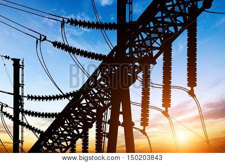 Substation in the power production equipment and towers