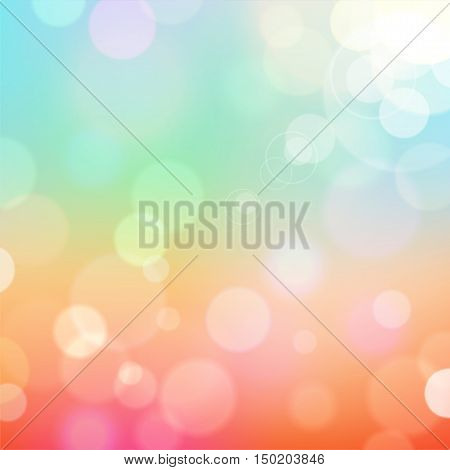 Festive colorful background of blue and red colors with bokeh defocused lights. Vector eps10.