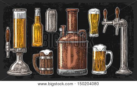 Beer set with tap class can bottle and tanks from brewery factory. Vintage vector engraving illustration for web poster invitation to beer party. Isolated on dark background.