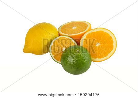 Sweetie oranges and lemons on a white background isolated