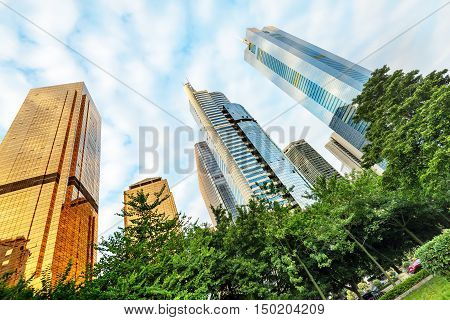 Intensive skyscrapers in big cities towering into China, Guangzhou, China.