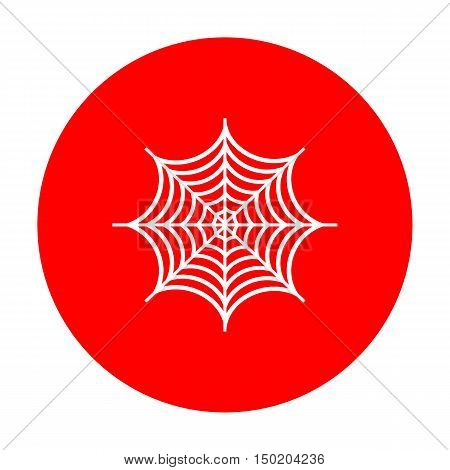 Spider On Web Illustration. White Icon On Red Circle.