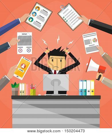 Stressed cartoon businessman in pile of office papers and documents tearing his hair out. Office workplace with pc monitor. Stress at work. Overworked. Vector illustration in flat design