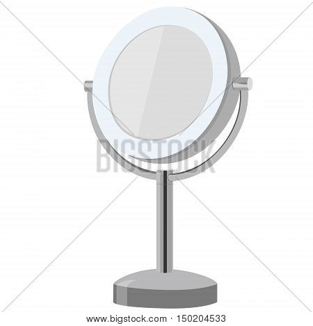 Vector illustration metal stand make up mirror. Cosmetic mirror. Mirror icon.