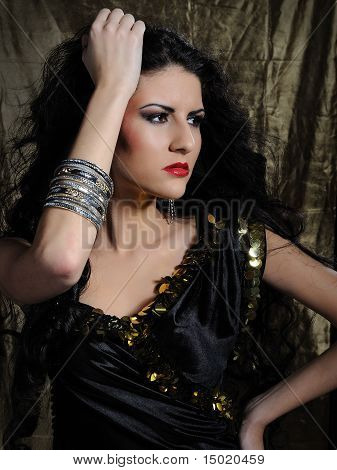 Beautiful Model Woman With Long Black Healthy Hair In Arabic Traditional Clothes