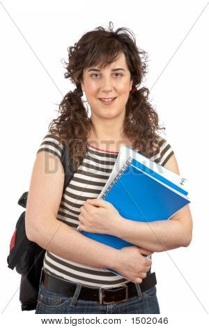 Young Student Woman With Backpack