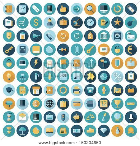 Flat design icons for business and finance. Vector eps10 with transparency.