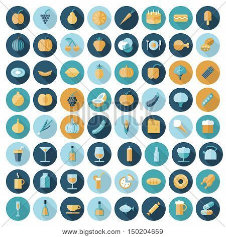 Flat design icons for food and drinks. Vector eps10 with transparency.