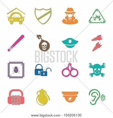 security 16 icons universal set for web and mobile flat