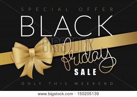 vector illustration of black friday banner with hand lettering golden word - friday - and golden ribbon with bow.