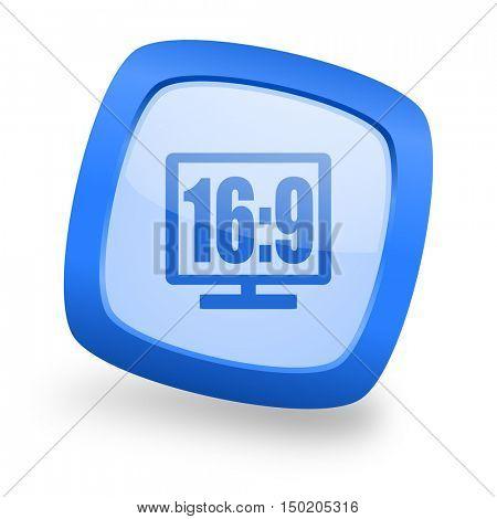 16 9 display blue glossy web design icon
