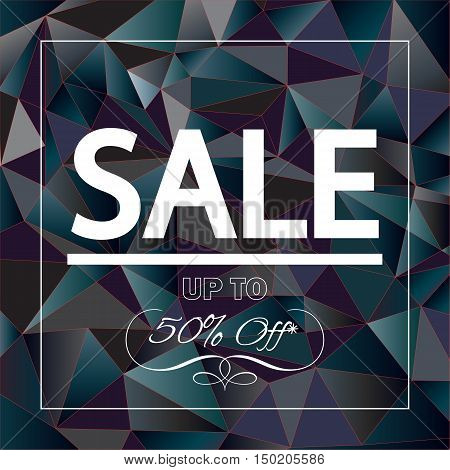 Sale up to fifty percent off, discount banner for marketing. Vector illustration.