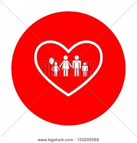 Family Sign Illustration In Heart Shape. White Icon On Red Circle.
