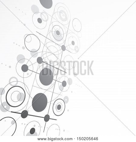 Bauhaus art dimensional composition perspective grayscale modular vector backdrop with circles and grid.
