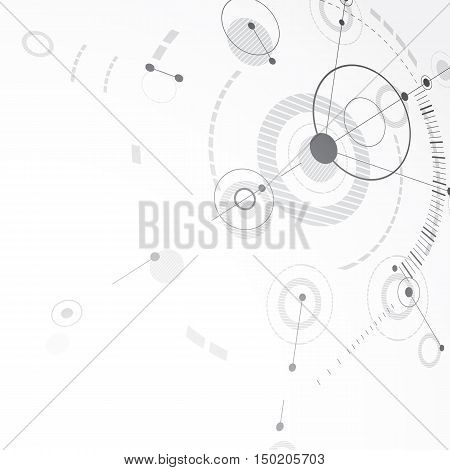 Vector Bauhaus abstract background made with grid and overlapping simple geometric elements circles.