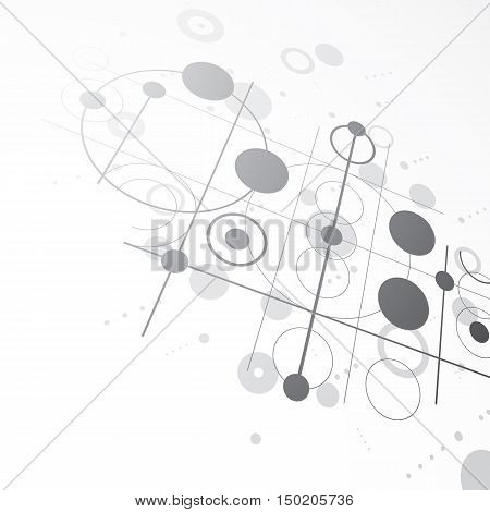 3d vector Bauhaus abstract monochrome background made with grid and overlapping simple geometric elements circles and lines.