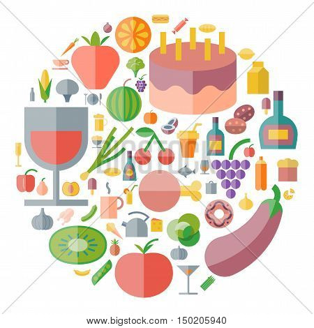 Icons for food and drink arranged in circle. Vector illustration.