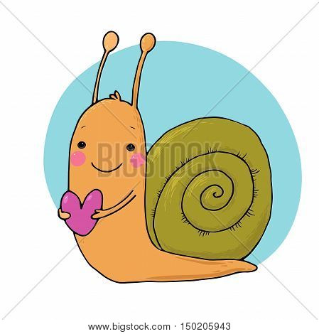 Cute cartoon snail with heart. funny insect. Hand drawing isolated objects on white background. Vector illustration.