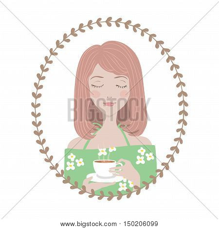 Female Character in oval round floral frame. Young woman girl in green dress enjoys her cup of tea. Avatar for blogger.