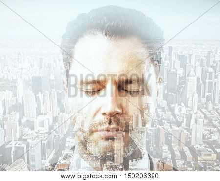 Close up portrait of handsome young businessman on city background. Double exposure. Research concept