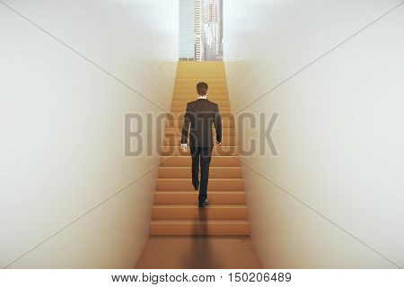 Back view of young businessman in suit climbing abstract narrow ladder leading to bright city. Success concept. 3D Rendering
