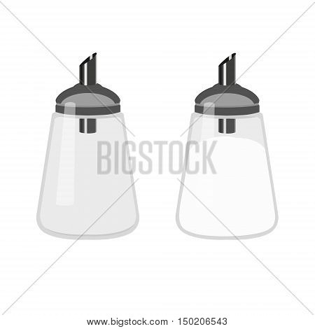 Glass and steel sugar dispenser. Full and empty sugar dispenser. Sugar bowl.