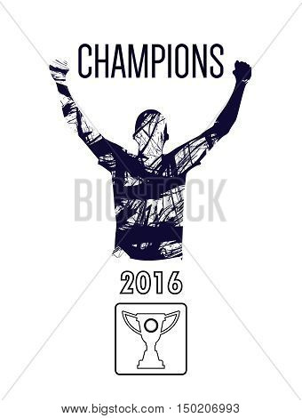 Digital vector, abstract winner sportman champion with hands in the air, flat style