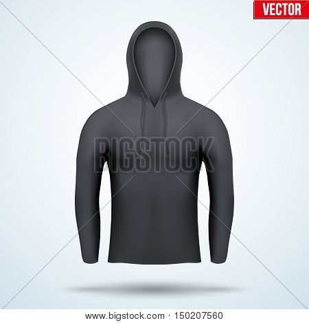 Black Hoodie design templates. Front view. Editable Vector illustration Isolated on background.