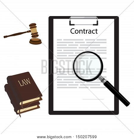 Vector illustration of business contract with magnifying glass judge gavel and law book. Lawyer consulting service concept