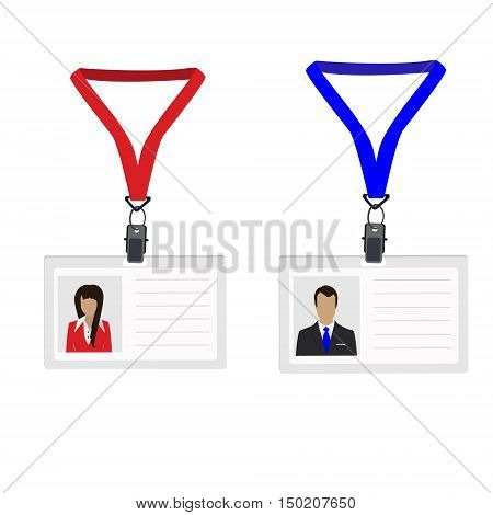 Vector illustration white plastic lanyard with woman and man photo. Name badge. Name tag. Employee badge