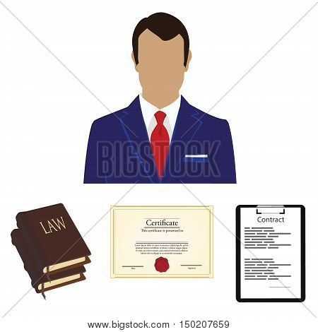 Vector illustration lawyer consulting service concept. Lawyer law book certificate and contract on black clipboard