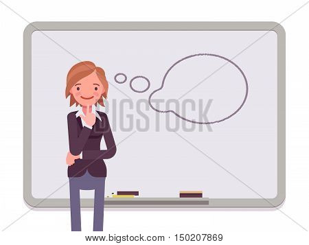 Woman against the whiteboard with drawn dialogue cloud. Cartoon vector flat-style concept illustration