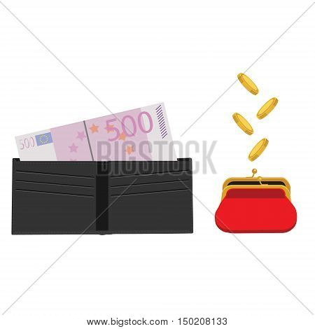 Vector illustration black man purse with five hundred euro and red retro purse with falling coins. Make money concept