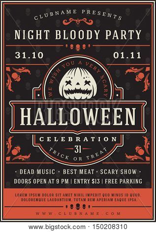 Halloween Night Party Poster Design Template. Typography flyer invitation vector illustration.