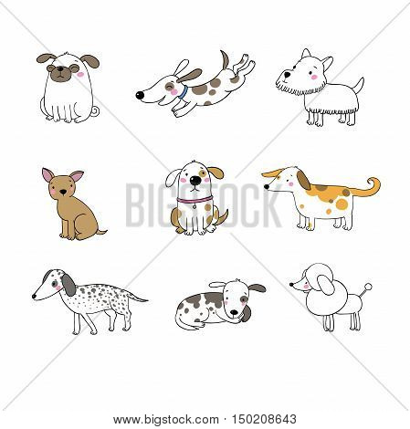 Set of funny cartoon dogs. Hand drawing isolated objects on white background. Vector illustration.