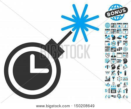 Time Bomb icon with bonus calendar and time management design elements. Vector illustration style is flat iconic bicolor symbols, blue and gray colors, white background.