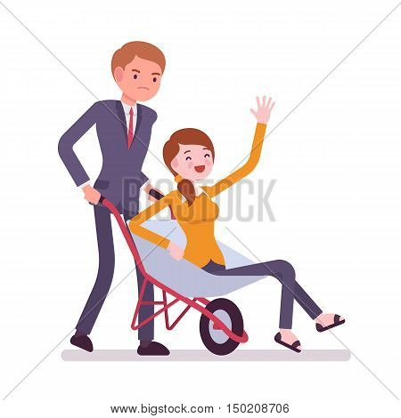 Man pushing a lady in the wheelbarrow. Cartoon vector flat-style concept illustration