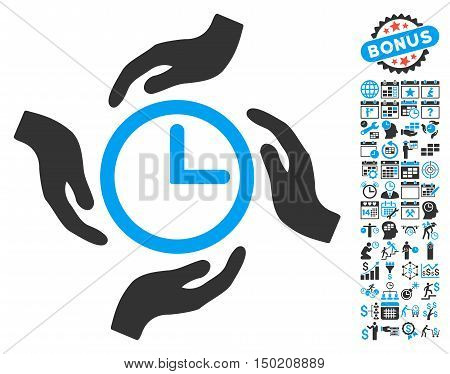 Time Care icon with bonus calendar and time management pictogram. Vector illustration style is flat iconic bicolor symbols, blue and gray colors, white background.