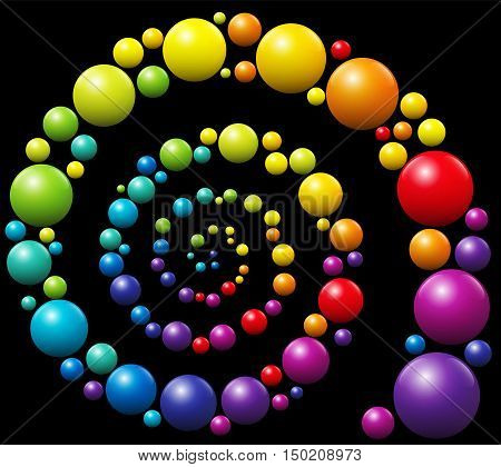 Colorful snail pattern spiral out of three-dimensional balls on black background.