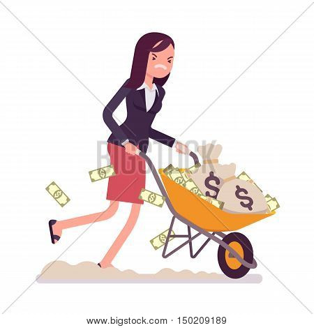 Businesswoman pushing a wheelbarrow full of money. Cartoon vector flat-style concept illustration