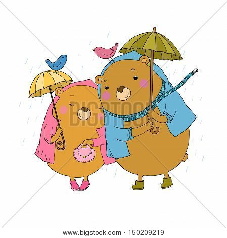 Cute teddy bear under an umbrella. Autumn theme. Hand drawing isolated objects on white background. Vector illustration.
