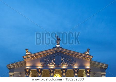 The roof of Gomel Regional Drama Theatre. Blue hour
