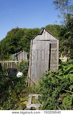An old leaning shed in an allotment